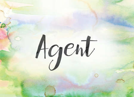 The word Agent concept and theme written in black ink on a colorful painted watercolor background. Фото со стока