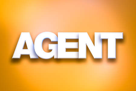 The word Agent concept written in white type on a colorful background. Stock Photo