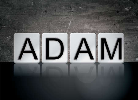 The name ADAM concept and theme written in white tiles on a dark background. Imagens