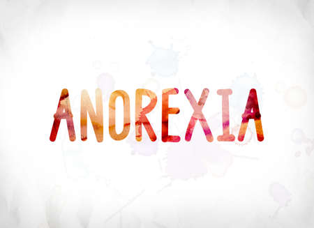 wasting away: The word Anorexia concept and theme painted in colorful watercolors on a white paper background. Stock Photo