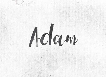 The name ADAM concept and theme painted in black ink on a watercolor wash background. Imagens