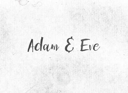 Adam and Eve concept and theme painted in black ink on a watercolor wash background.