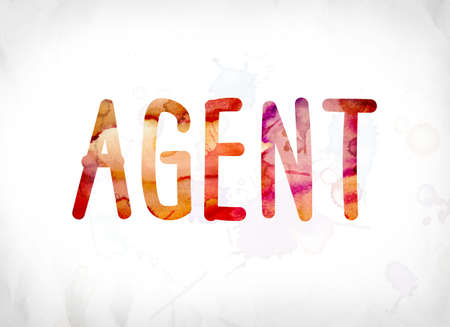operative: The word Agent concept and theme painted in colorful watercolors on a white paper background. Stock Photo