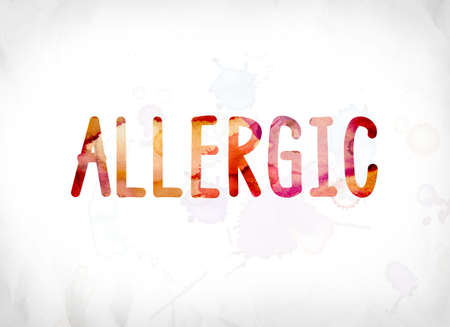 The word Allergic concept and theme painted in colorful watercolors on a white paper background.