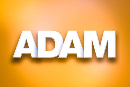 The name ADAM concept written in white type on a colorful background. Imagens