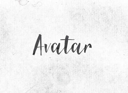 The word Avatar concept and theme painted in black ink on a watercolor wash background.