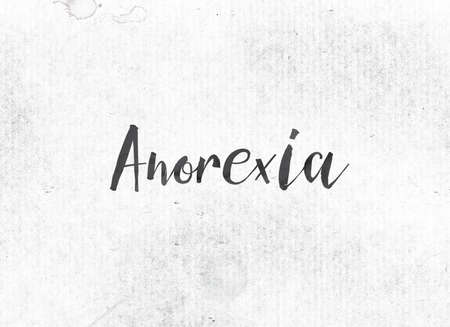 The word Anorexia concept and theme painted in black ink on a watercolor wash background.