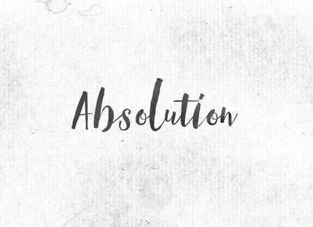 The word Absolution concept and theme painted in black ink on a watercolor wash background. Stock Photo