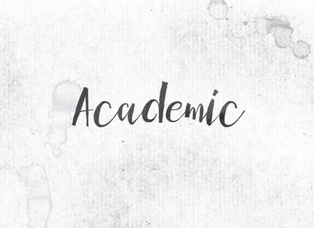 The word Academic concept and theme painted in black ink on a watercolor wash background.