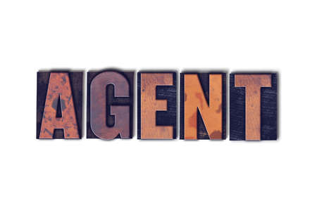 The word Agent concept and theme written in vintage wooden letterpress type on a white background. Фото со стока
