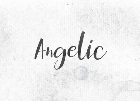 The word Angelic concept and theme painted in black ink on a watercolor wash background.
