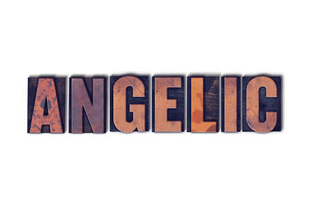 The word Angelic concept and theme written in vintage wooden letterpress type on a white background. Stock Photo