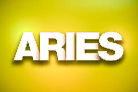 The word Aries concept written in white type on a colorful background.