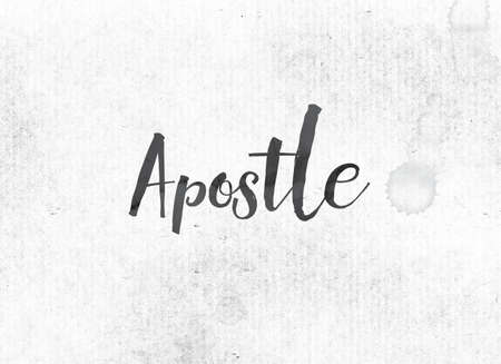 The word Apostle concept and theme painted in black ink on a watercolor wash background.
