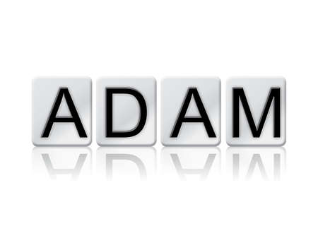 The name ADAM concept and theme written in white tiles and isolated on a white background.