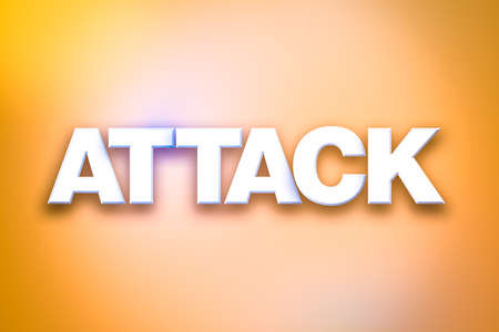 The word Attack concept written in white type on a colorful background.