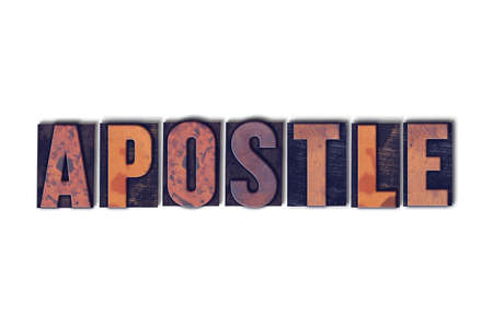 The word Apostle concept and theme written in vintage wooden letterpress type on a white background.