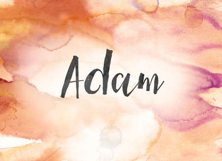 The name ADAM concept and theme written in black ink on a colorful painted watercolor background.