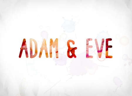 Adam and Eve concept and theme painted in colorful watercolors on a white paper background.