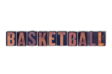 letterpress words: The word Basketball concept and theme written in vintage wooden letterpress type on a white background. Stock Photo