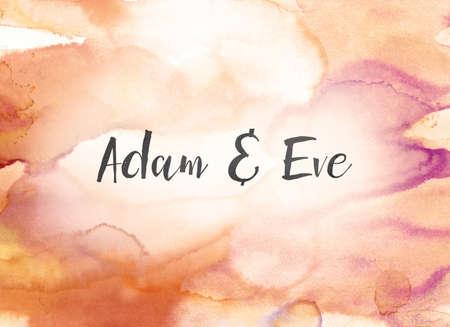 アダムとイブのコンセプトとカラフルな塗装水彩画の背景に黒のインクで書かれたテーマ。