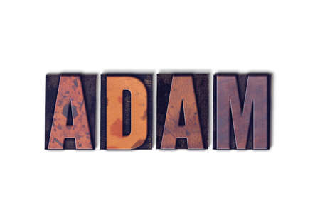 The name ADAM concept and theme written in vintage wooden letterpress type on a white background. Imagens