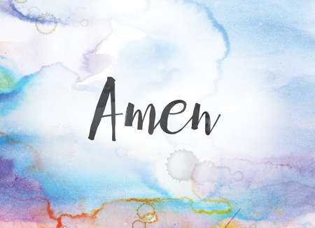 The word Amen concept and theme written in black ink on a colorful painted watercolor background.