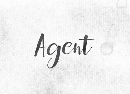 The word Agent concept and theme painted in black ink on a watercolor wash background.