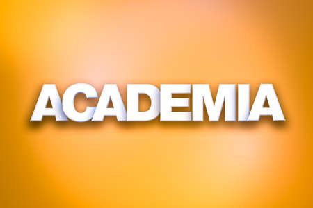 The word Academia concept written in white type on a colorful background.