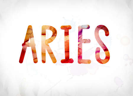 The word Aries concept and theme painted in colorful watercolors on a white paper background.