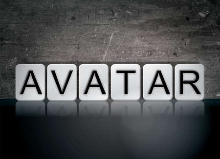The word Avatar concept and theme written in white tiles on a dark background. Imagens