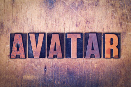 The word Avatar concept and theme written in vintage wooden letterpress type on a grunge background. Imagens