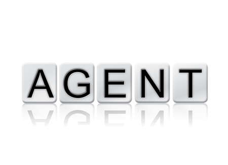 The word Agent concept and theme written in white tiles and isolated on a white background.