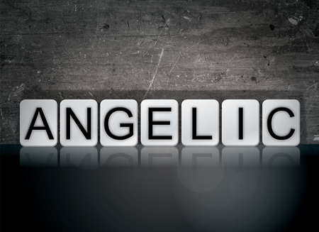 The word Angelic concept and theme written in white tiles on a dark background. Stock Photo