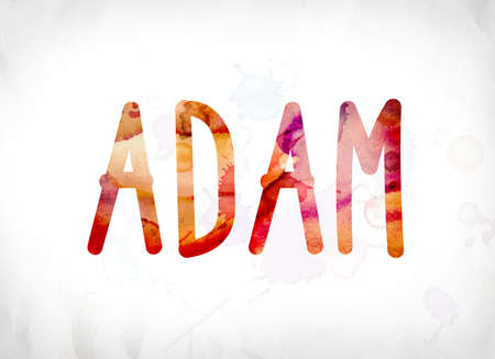 The name ADAM concept and theme painted in colorful watercolors on a white paper background.