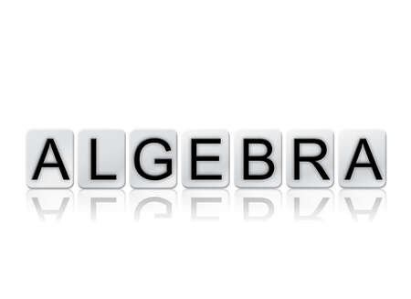 subtraction: The word Algebra concept and theme written in white tiles and isolated on a white background.