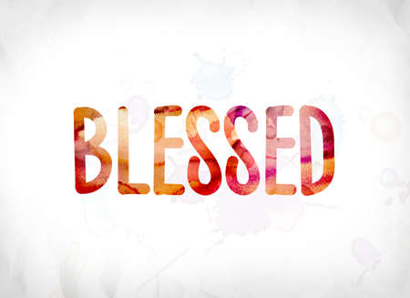 The word Blessed concept and theme painted in colorful watercolors on a white paper background.