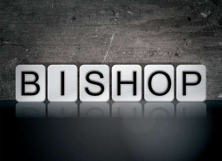 The word Bishop concept and theme written in white tiles on a dark background.