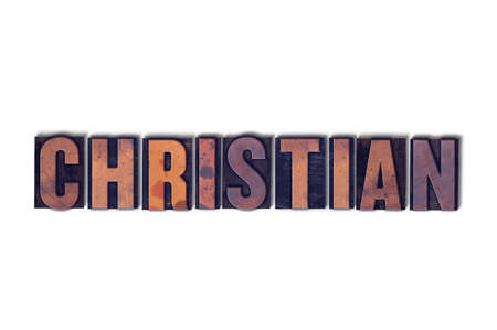 The word Christian concept and theme written in vintage wooden letterpress type on a white background. 스톡 콘텐츠