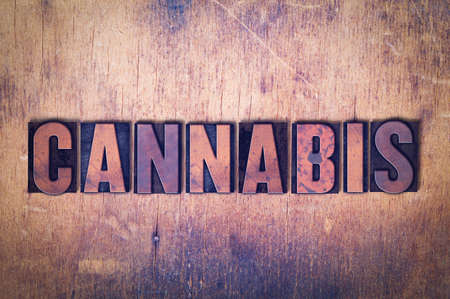 The word Cannabis concept and theme written in vintage wooden letterpress type on a grunge background.