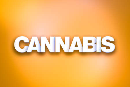 The word Cannabis concept written in white type on a colorful background.