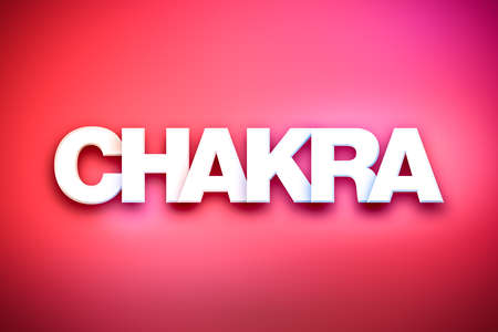 chakra energy: The word Chakra concept written in white type on a colorful background.
