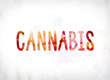 The word Cannabis concept and theme painted in colorful watercolors on a white paper background. Stock Photo