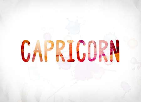 aries: La palabra Capricornio concepto y el tema pintado en coloridas acuarelas sobre un fondo de papel blanco. Foto de archivo