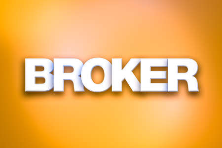 The word Broker concept written in white type on a colorful background.