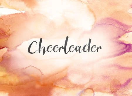 The word Cheerleader concept and theme written in black ink on a colorful painted watercolor background.