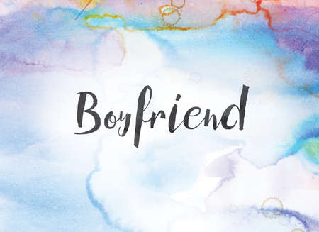 The word Boyfriend concept and theme written in black ink on a colorful painted watercolor background.