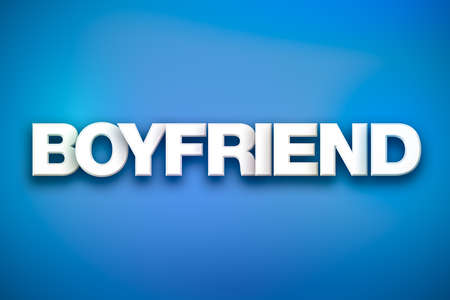 The word Boyfriend concept written in white type on a colorful background.