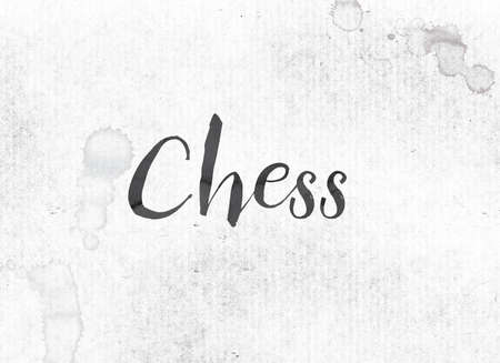 chess board: The word Chess concept and theme painted in black ink on a watercolor wash background. Stock Photo