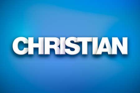 다채로운 개념에 흰색 형식으로 작성 된 기독교 개념 단어. 스톡 콘텐츠